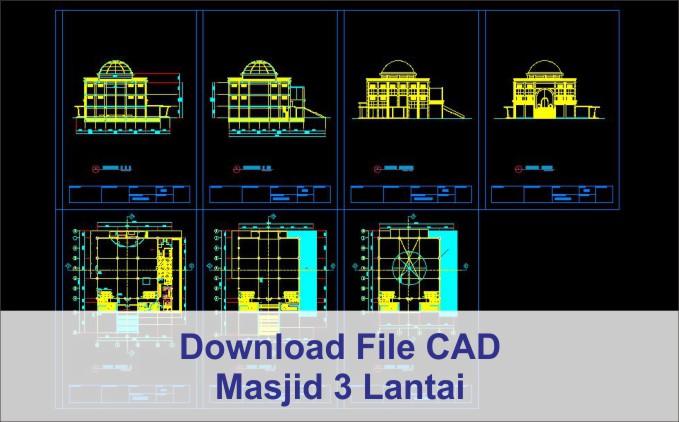 download Masjid 3 Lantai kubah AutoCad