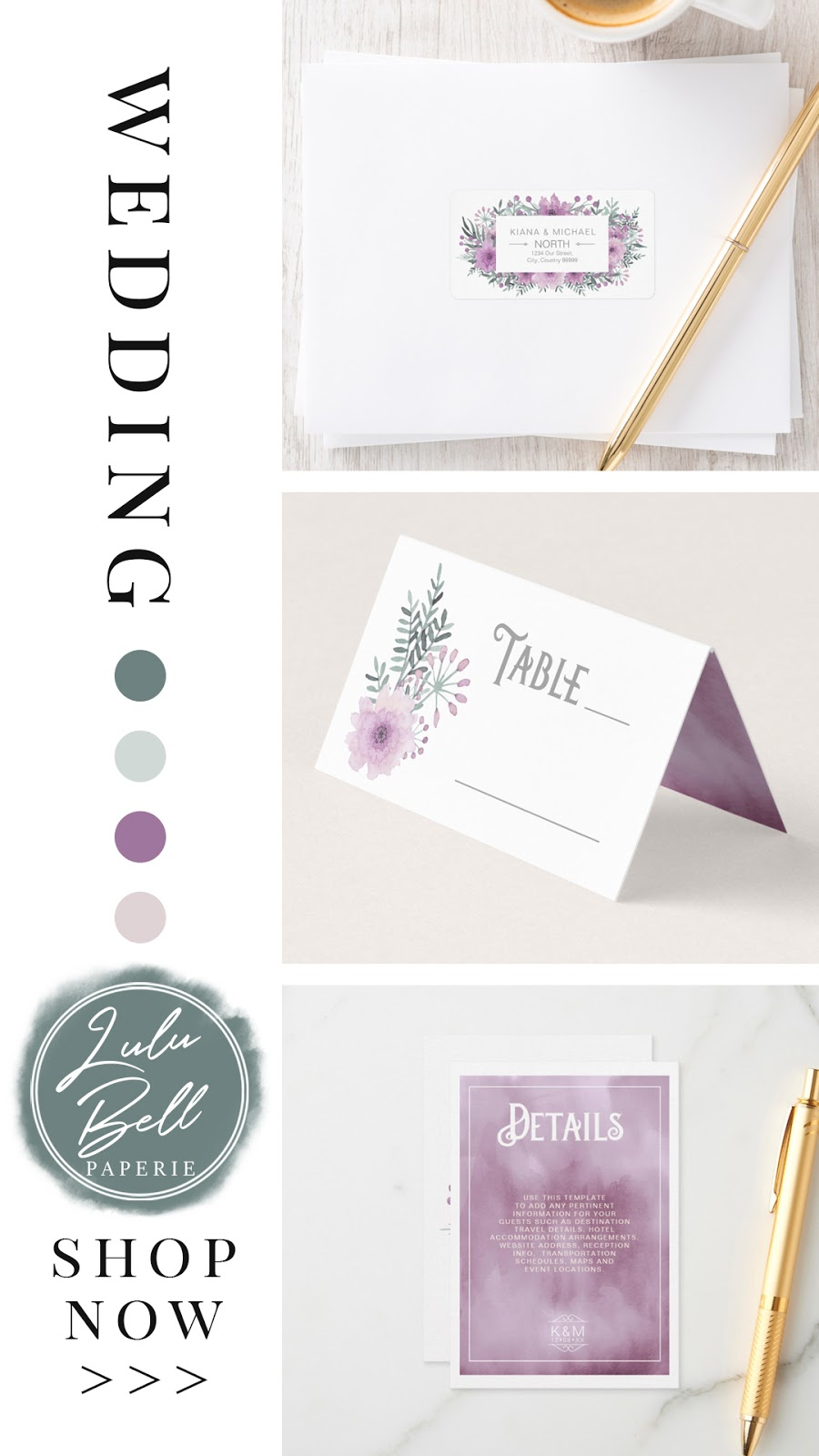 Lilac floral bouquet wedding invitation suite. Address label stickers, table number cards, and details enclosure cards all in a purple mint and blush pink colorway.