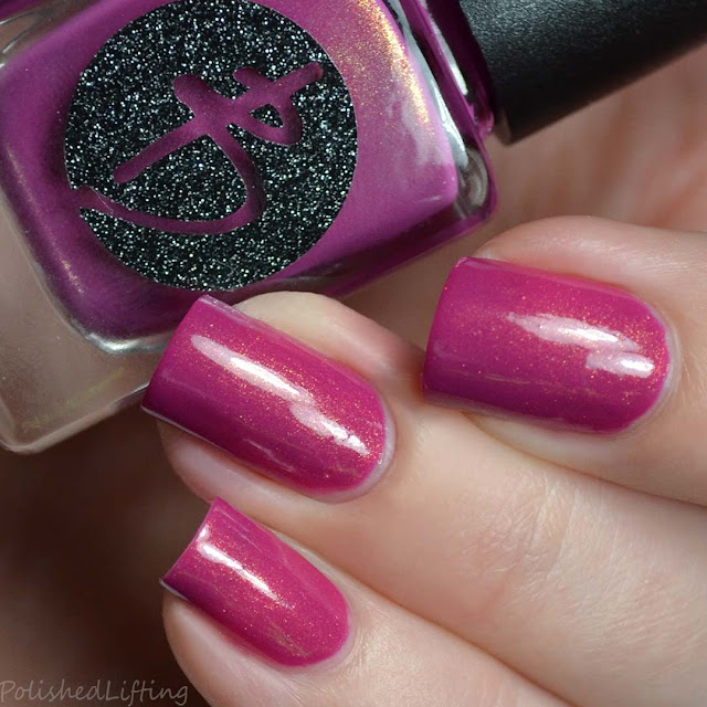 berry creme with gold shimmer nail polish