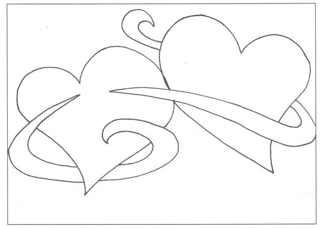 Free plain hearts coloring pages