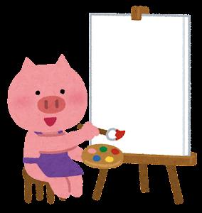 キャンバスに絵を描く動物のキャラクター(ブタ)