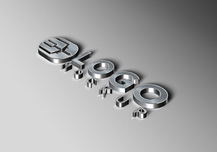 3D Luxury Silver Logo Mockup