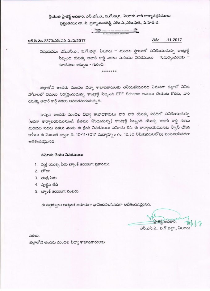 West Godavari District - Proceedings of SSA Contract Employees Details for EPF