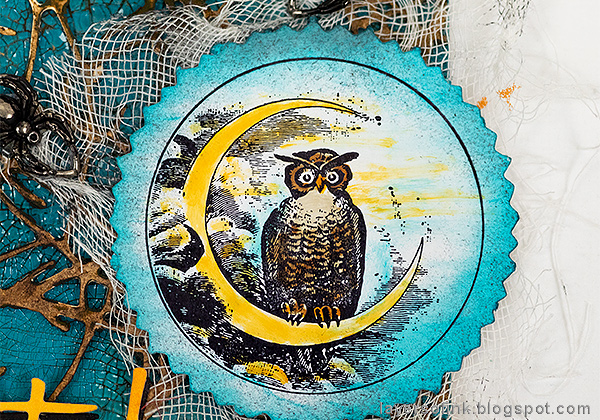 Layers of ink - Twigs and Owl Halloween Tag Tutorial by Anna-Karin Evaldsson, color with Distress Ink