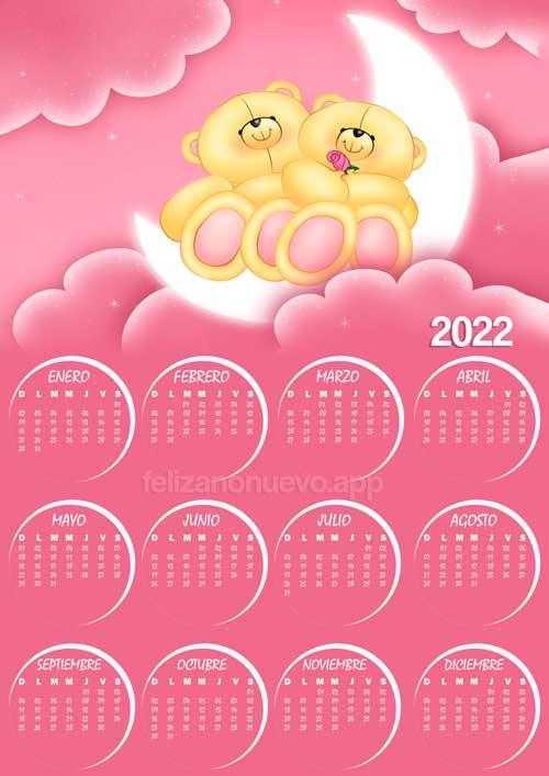 calendario de peluche 2022 para imprimir