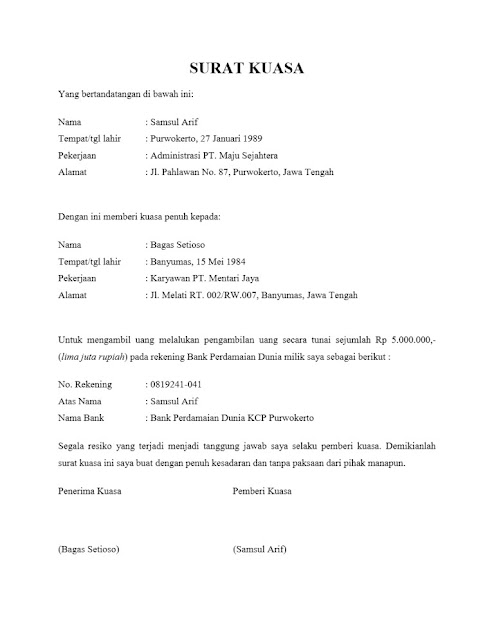 Contoh Surat Kuasa Pengambilan Uang di Bank (via: contohsurat.org)