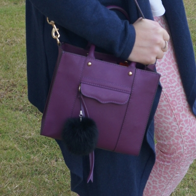 navy cardigan, pink leopard print jeans, Rebecca Minkoff mini MAB tote in plum | awayfromtheblue