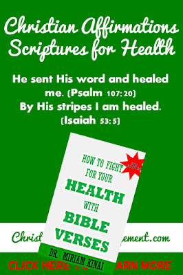 Christian Affirmations Scriptures for Health God sent His word and healed me. (Psalm 107:20) By His stripes I am healed. (Isaiah 53:5)