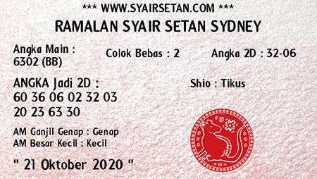 Syair Setan Sidney Rabu 21 Oktober 2020
