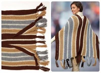 Chalina-Ruana gigante con flecos crochet