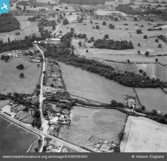 Photograph of Bell Lane, The Legg and Brookmans Park Golf Course, Bell Bar, 1947 Image courtesy of Britain From Above
