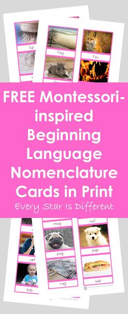 Montessori-inspired Beginning Language Nomenclature Cards in Print (Free Printable)