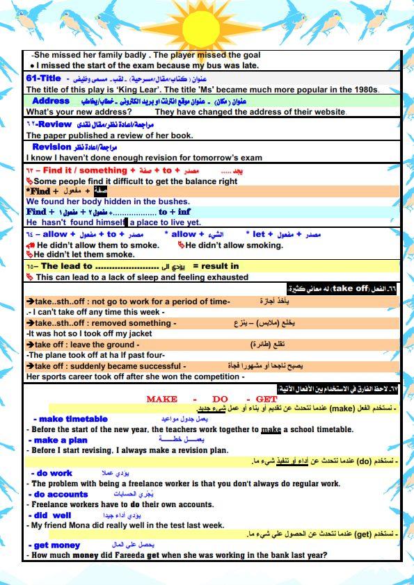 قواعد اللغة الانجليزية والملاحظات اللغوية للصف الثالث الثانوي مستر/ أحمد فرحات 7