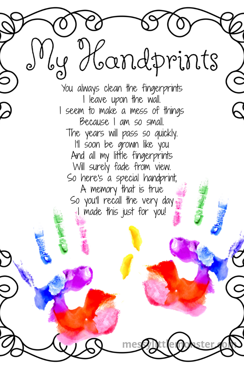 My hands handprint poem printable
