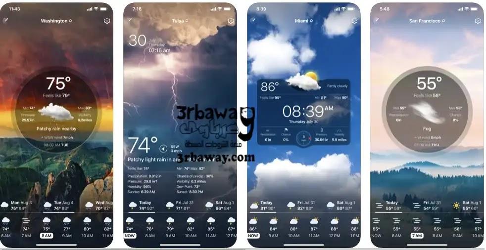 التطبيق الثالث: Weather Live