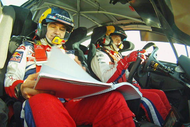 Sebastien Loeb and Daniel Elena in car