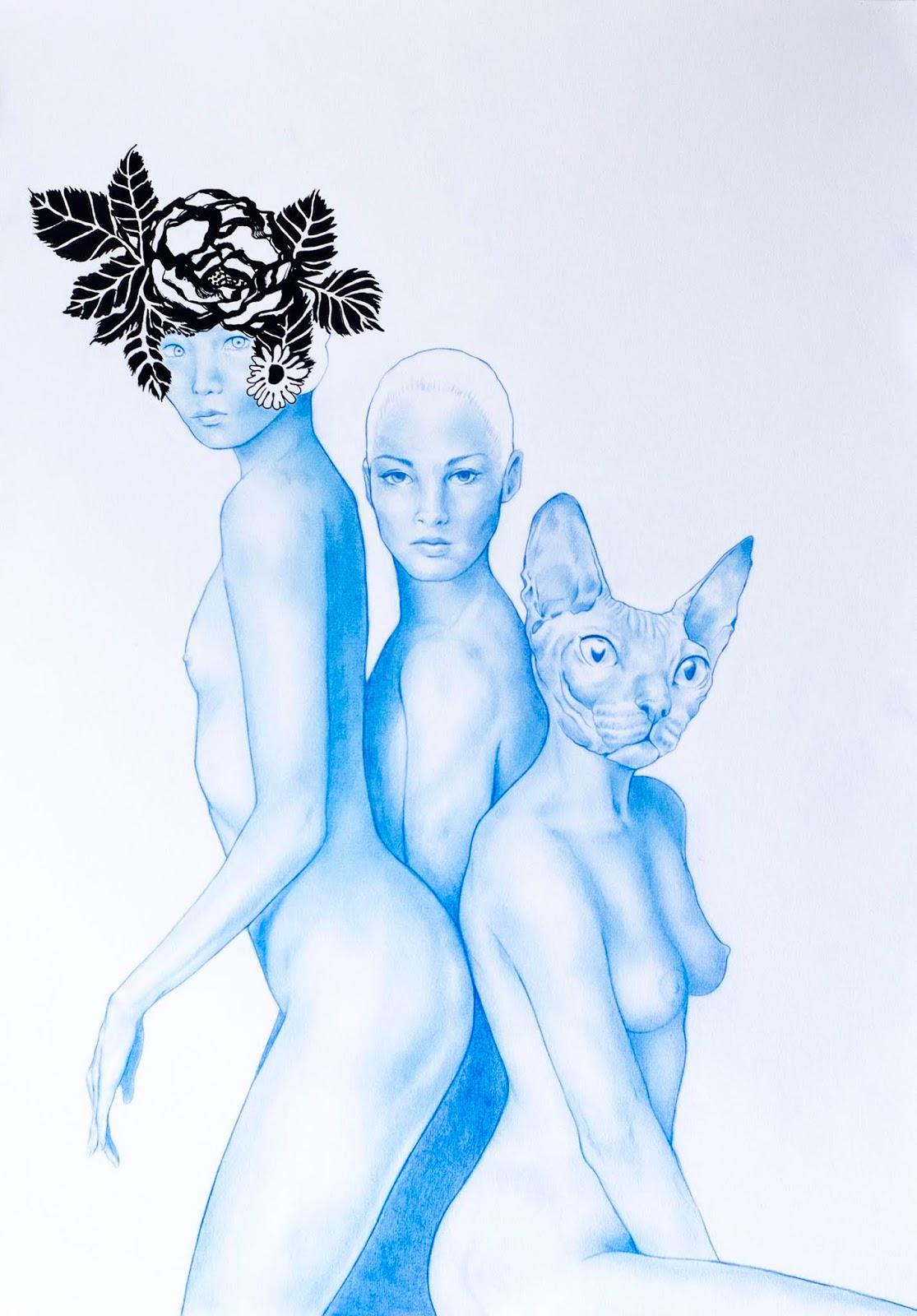 Ilustración de Jorge González trío de dos ninfas celestes como mujer con cabeza de gato
