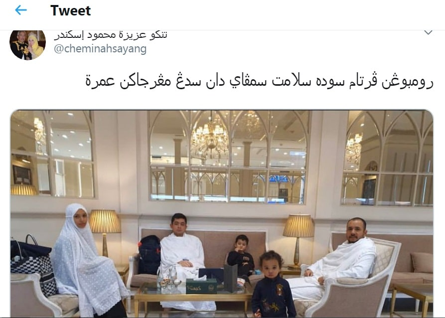 Raja Permaisuri Agong tweet dengan tulisan Jawi