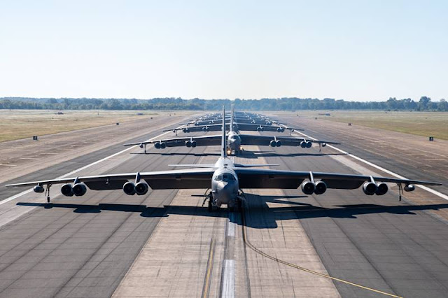 B-52H Stratofortress bombers conduct impressive elephant walk at Barksdale AFB