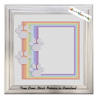 Cross Stitch Paw Print Pet Memory Rainbow Cross Stitch Sampler Frame