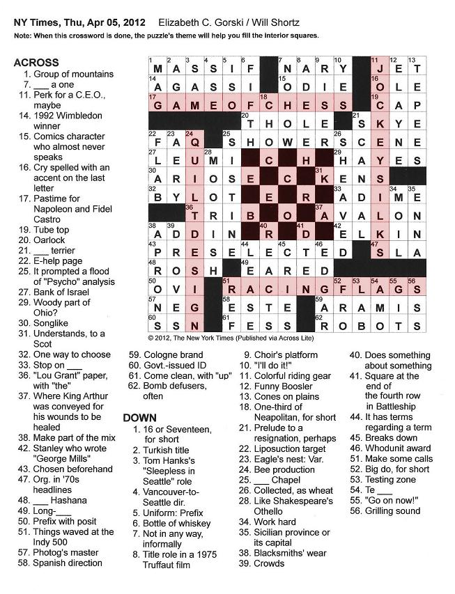The New York Times Crossword in Gothic: 04.05.12 ...