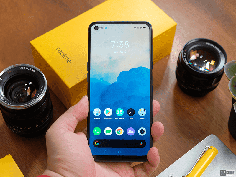Realme 6 in front with punch-hole