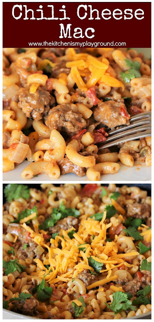 Chile Cheese Mac ~ Easy, cheesy, & flavorful. The ultimate cheesy one-pot comfort food dinner!  www.thekitcheismyplayground.com