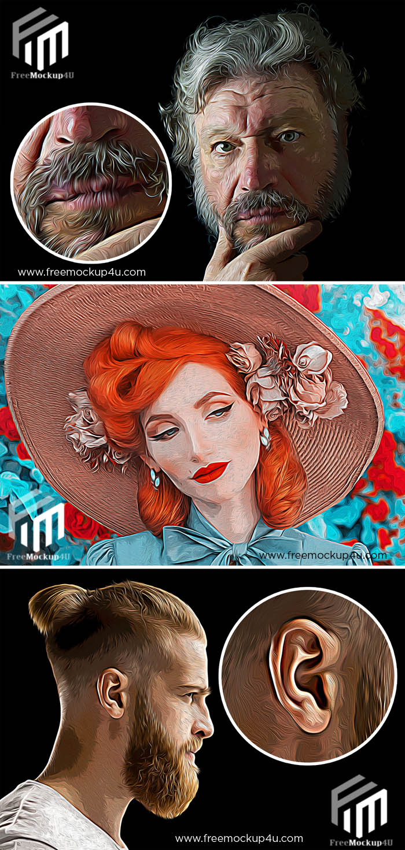 Oil Paint Photo Effect Mockup