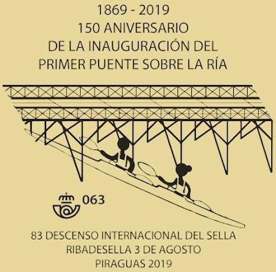 Matasellos Descenso del Sella, Piraguas 2019, puente
