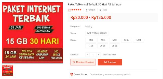 Daftar Harga Paket Internet Telkomsel Bulanan Unlimited Termurah - Di Marketplace Shopee