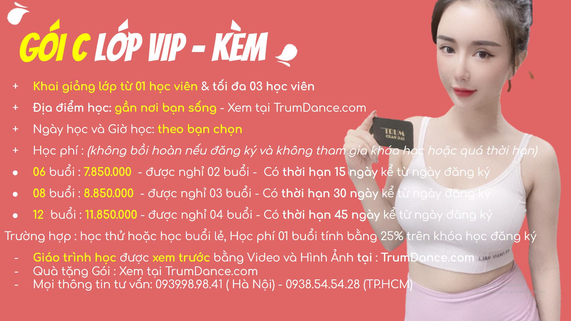 Bảng học phí học nhảy Trumdance - Lớp VIP - KÈM