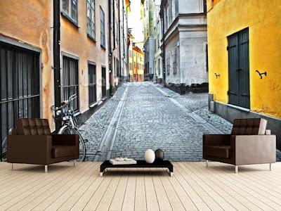 stockholmstapet gamla stan fototapet gata gränd fondtapet