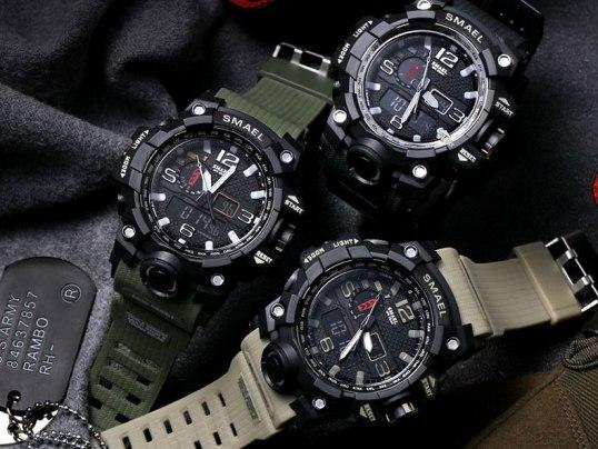 Купить противоударные, водонепроницаемые, военно-спортивные часы SMAEL 1545