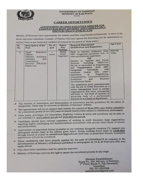 Pakistan New Govt Jobs 2021-Ministry of Railway- New Govt Jobs 2021