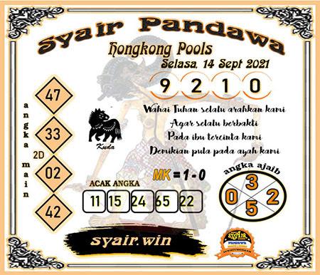 Syair Pandawa HK Selasa 14-Sep-2021