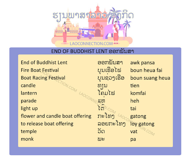 Learn Lao Language:  End of Buddhist Lent