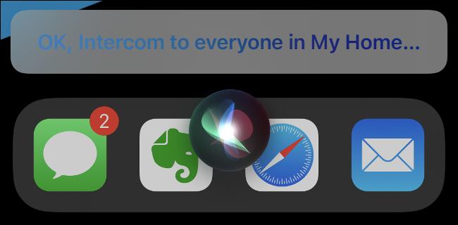 رسالة اتصال داخلي في Siri.