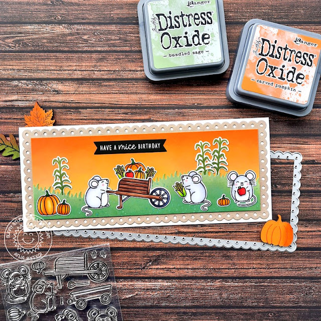 Sunny Studio Stamps: Slimline Dies Harvest Mice Fall Themed Birthday Card by Anja Bytyqi