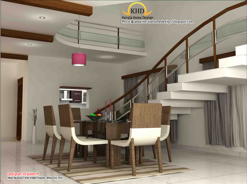3d rendering concept of interior designs kerala home for Home dining hall design