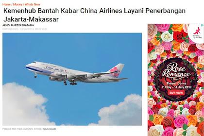 [HOAX]  China Airlines Sudah Beroperasi di Makassar