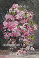 Cascading pink roses in a vase, 7 x 5 oil painting by Clemence St. Laurent