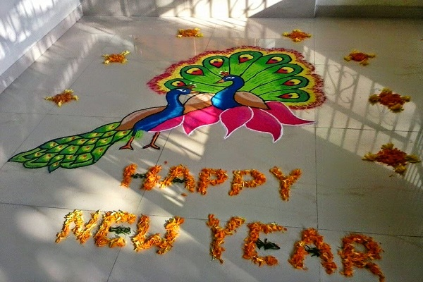 Happy New Year Rangoli 12