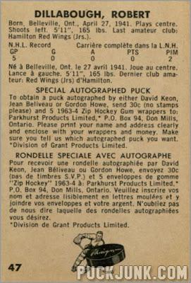 1963-64 Parkhurst #47 - Robert Dillabough