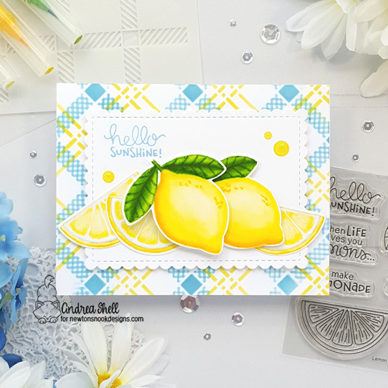 Hello Sunshine Lemon card by Andrea Shell | Lemon Twist Stamp Set, Framework Die Set and Plaid Stencil Set by Newton's Nook Designs #newtonsnook #handmade