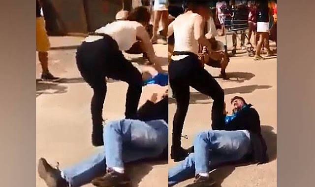 Woman Pins Male Harasser Down, Proceeds To Rub Breasts On His Face As Punishment In Viral Video