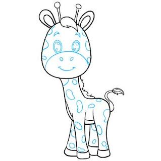 تعليم الرسم للاطفال المبتدئين خطوة بخطوة - كيفية رسم طفل الزرافة Drawing giraffe for beginner kids step by step