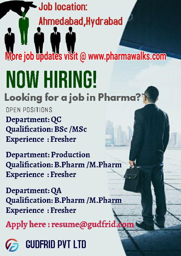Gurfrid Pvt. Ltd Walk-in interview for the B.Sc/ M.Sc/ B.Pharm/ M.Pharm Freshers | Apply Now | Pharmawalks