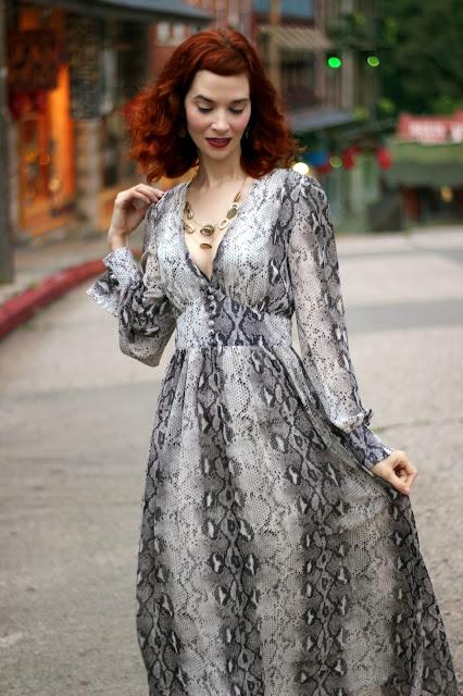 Snakeskin Printed V-Neck Chiffon Dress from Chic Wish snake Skin Chicwish maxi
