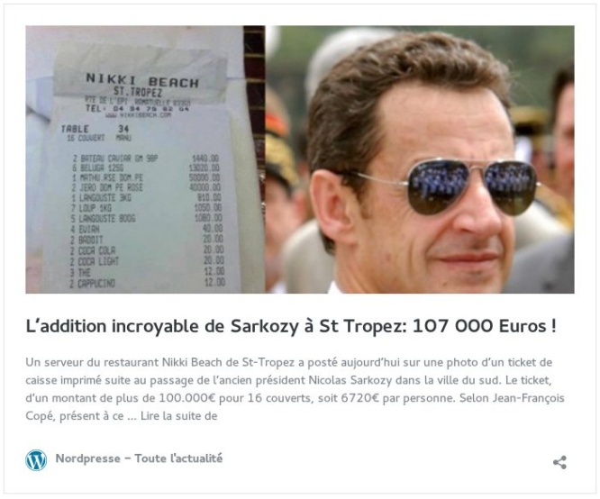 L'addition incroyable de Sarkozy à St Tropez: 107 000 Euros !