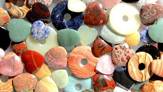 Assorted stone hearts rotating